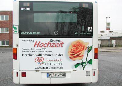 Buswerbung für die Stadt Uetersen (variable Heckbeschriftung).