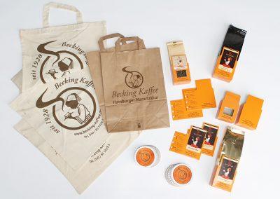 Werbeartikel für Hamburger Kaffeerösterei und -versandhandel.