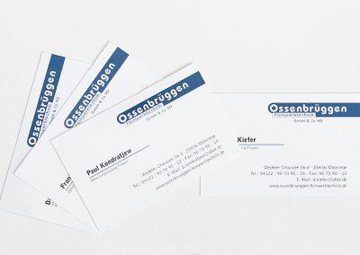 Erstellung von Visitenkarten für die Ossenbrüggen Feinwerktechnik, Moorrege.