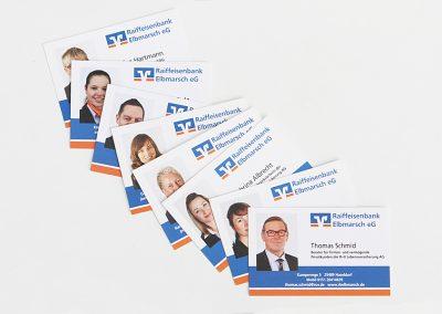 Erstellung von Visitkarten für die Raiffeisenbank Elbmarsch mit Hauptsitz in Heist.